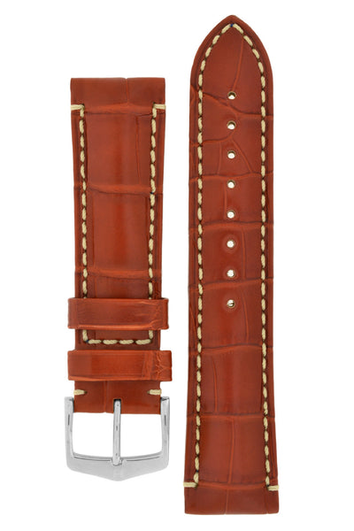 Hirsch VISCOUNT Water-Resistant Alligator Leather Watch Strap in GOLD BROWN