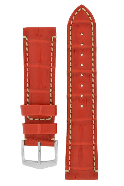 Hirsch VISCOUNT Water-Resistant Alligator Leather Watch Strap in RED