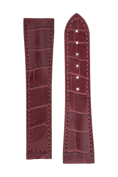 Hirsch VOYAGER Alligator Deployment Watch Strap in BURGUNDY