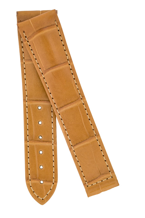 Hirsch VOYAGER Alligator Deployment Watch Strap in HONEY