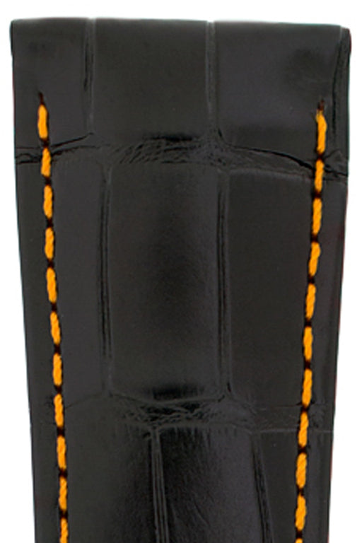 Hirsch VOYAGER Alligator Deployment Watch Strap in BLACK/ORANGE