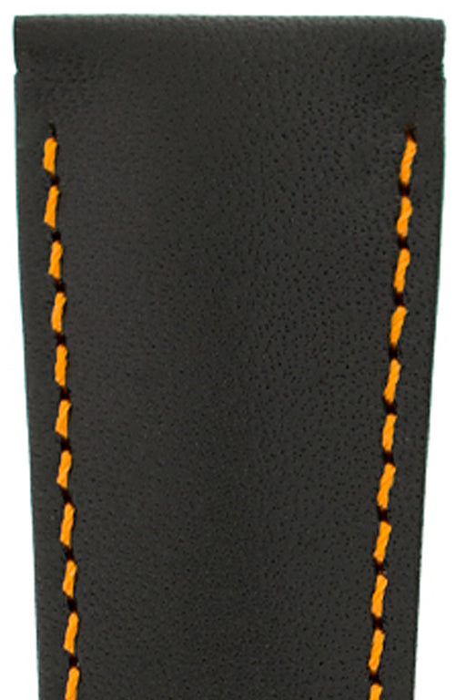 Hirsch VOYAGER Calfskin Deployment Watch Strap in BLACK/ORANGE
