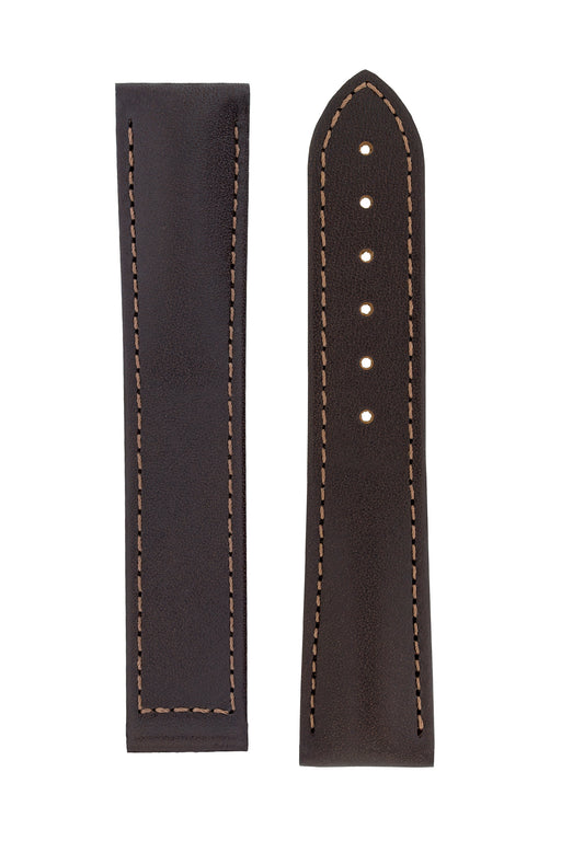 Hirsch VOYAGER Calfskin Deployment Watch Strap in BROWN/BROWN