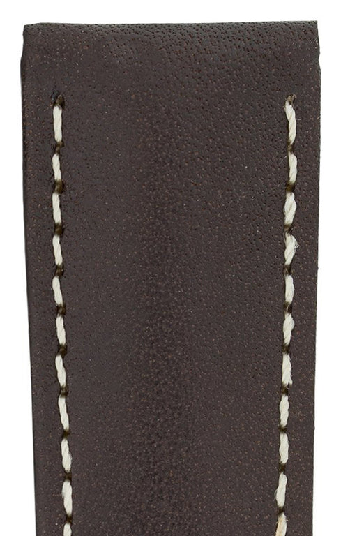 Hirsch VOYAGER Calfskin Deployment Watch Strap in BROWN/WHITE