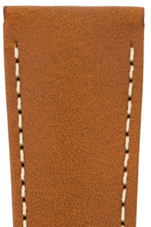 Hirsch VOYAGER Calfskin Deployment Watch Strap in GOLD BROWN/WHITE