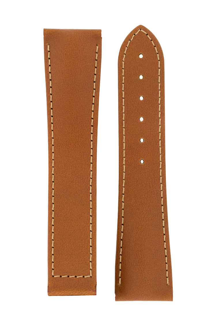 Hirsch VOYAGER Calfskin Deployment Watch Strap in GOLD BROWN/GOLD BROWN