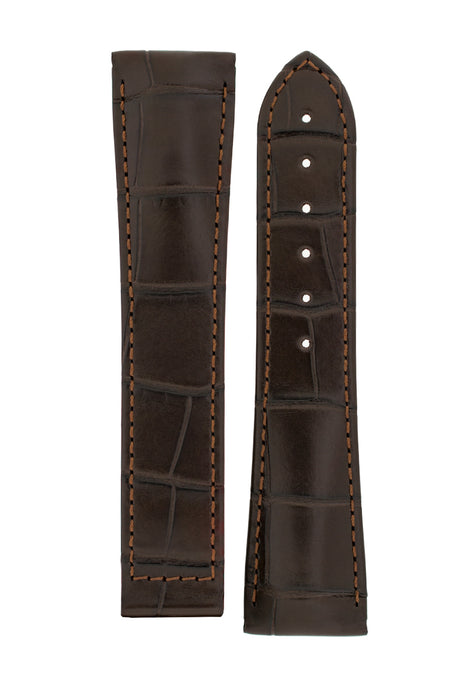 Hirsch VOYAGER Alligator Deployment Watch Strap in DARK BROWN