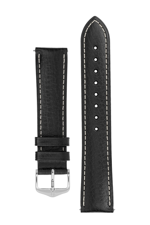 Hirsch BOSTON Buffalo Calfskin Leather Watch Strap in BLACK