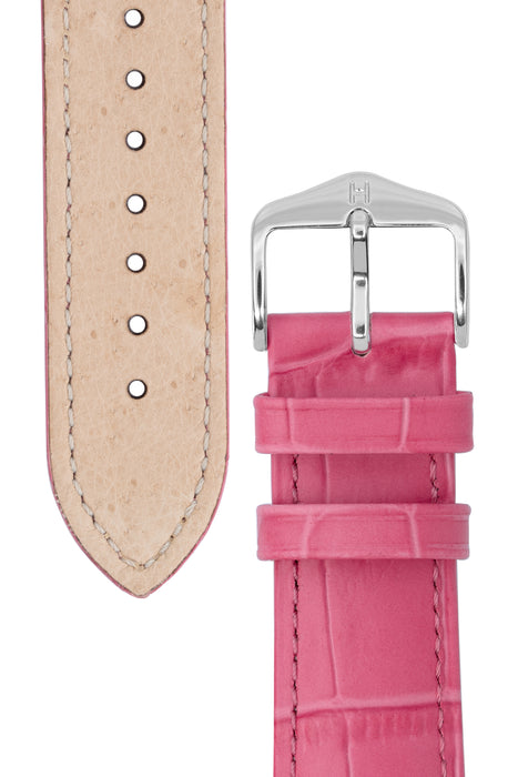 Hirsch DUKE Alligator Embossed Leather Watch Strap in PINK