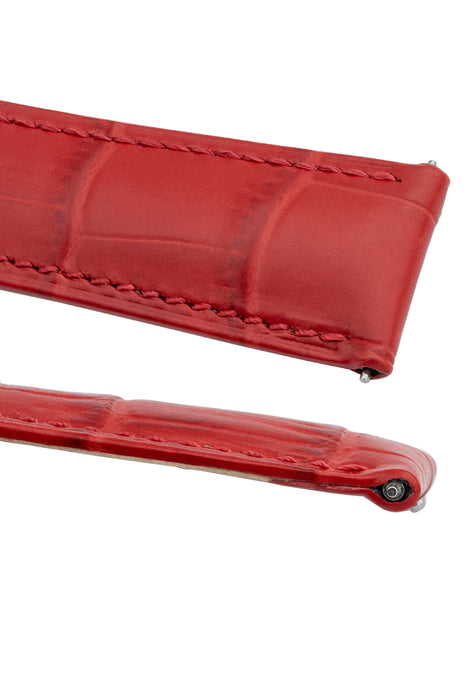 Hirsch DUKE Alligator Embossed Leather Watch Strap in RED
