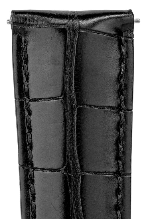 Hirsch GENUINE ALLIGATOR Louisiana Alligator Watch Strap in BLACK