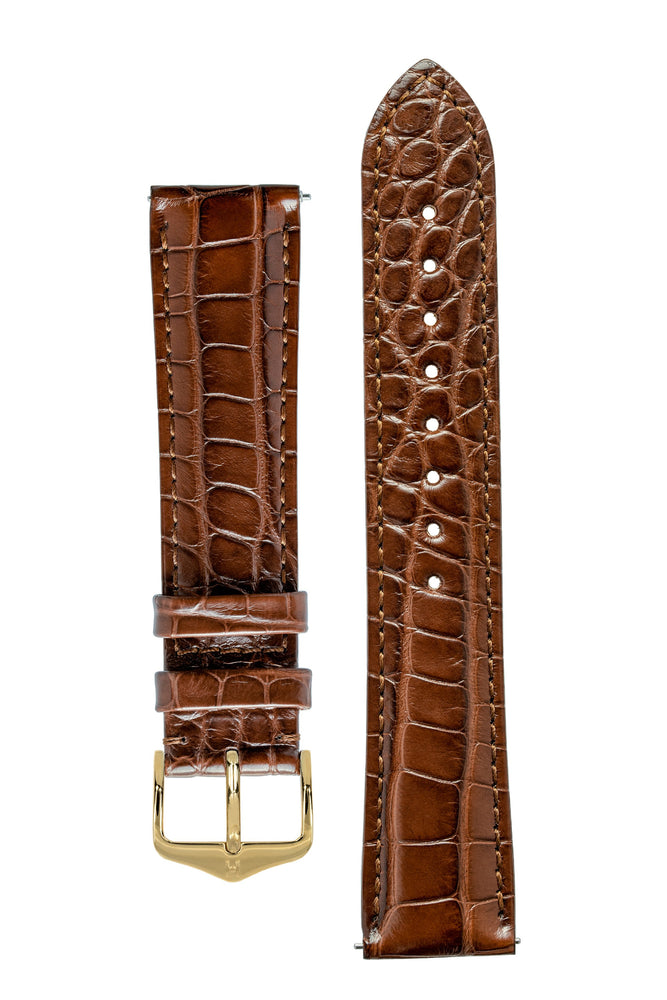 Hirsch GENUINE ALLIGATOR Louisiana Alligator Watch Strap in BROWN