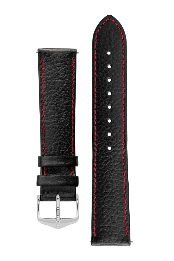 Hirsch KANSAS Buffalo-Embossed Calf Leather Watch Strap in BLACK with Red Stitch