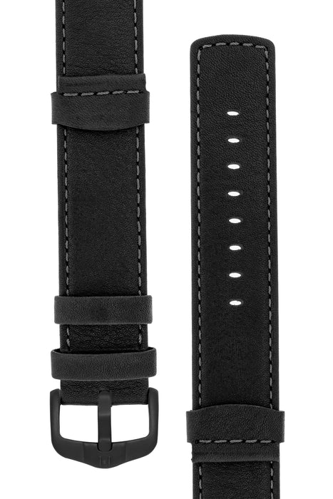 Hirsch REBEL Leather NATO-Style Watch Strap in BLACK