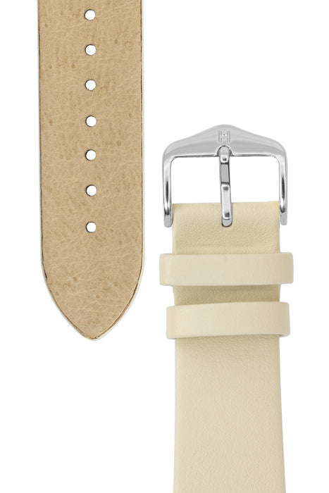 Hirsch TORONTO Fine-Grained Leather Watch Strap in BEIGE
