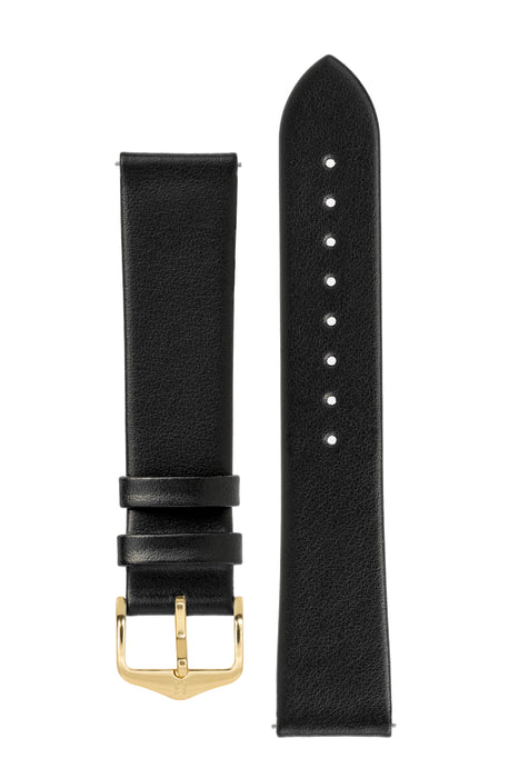 Hirsch TORONTO Fine-Grained Leather Watch Strap in BLACK