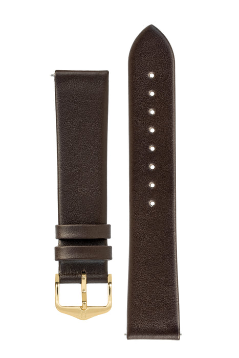 Hirsch TORONTO Fine-Grained Leather Watch Strap in BROWN