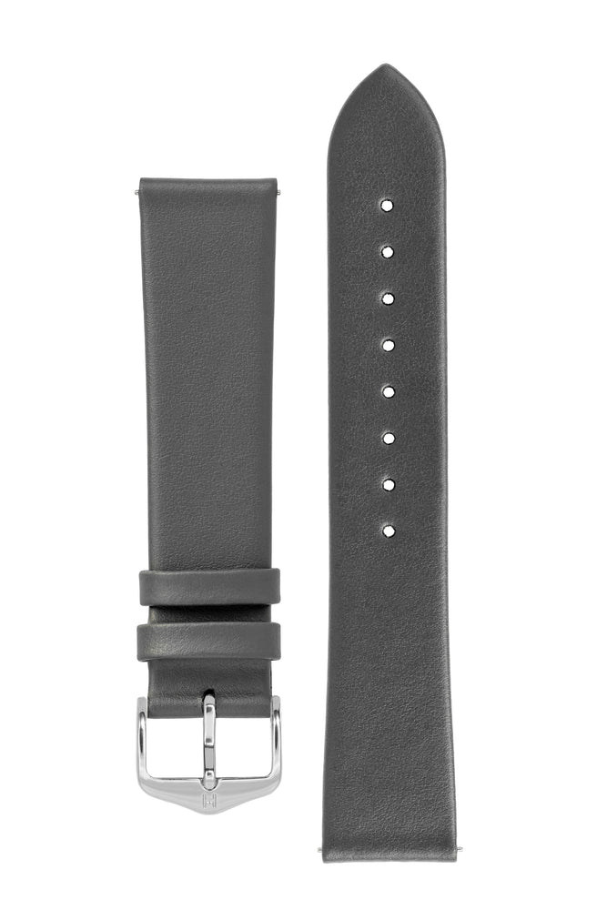 Hirsch TORONTO Fine-Grained Leather Watch Strap in GREY