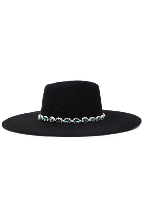 EMERALD STONE WIDE BRIM WOOL HAT
