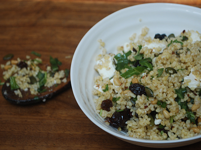 Bulgar wheat with feta, berries, rocket