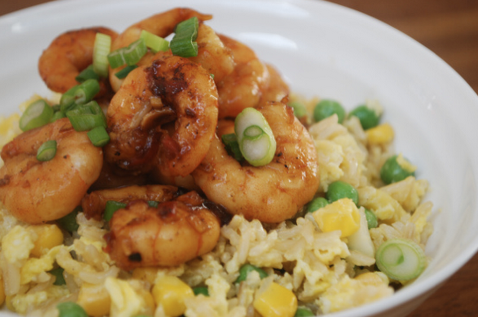 Sesame and soy prawns with egg fried rice