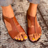 2020 Top Rated Comfy Leather Flat Sandals