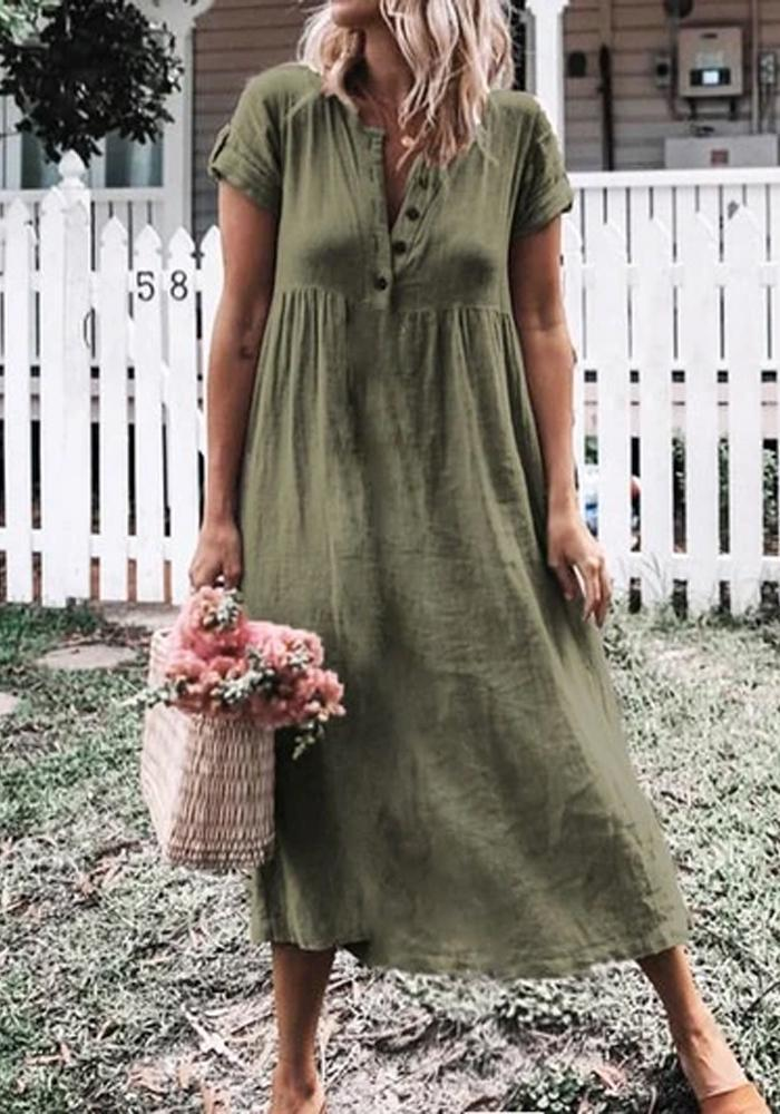 PLUS SIZE CASUAL SHORT SLEEVE SOLID MIDI DRESS