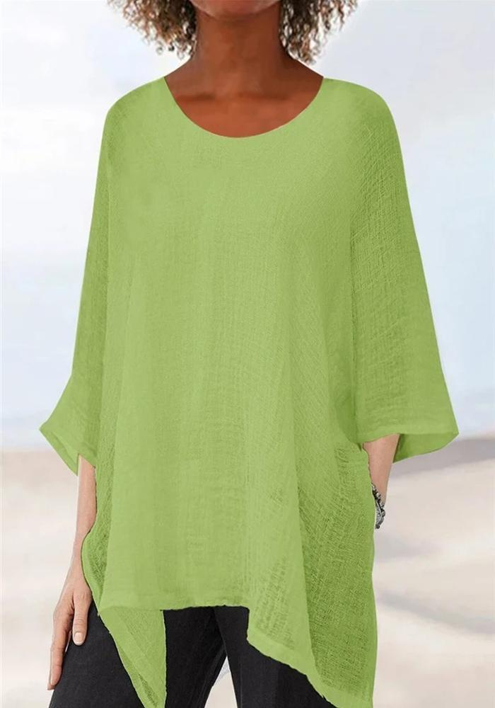 Irregular Solid Batwing T-shirts