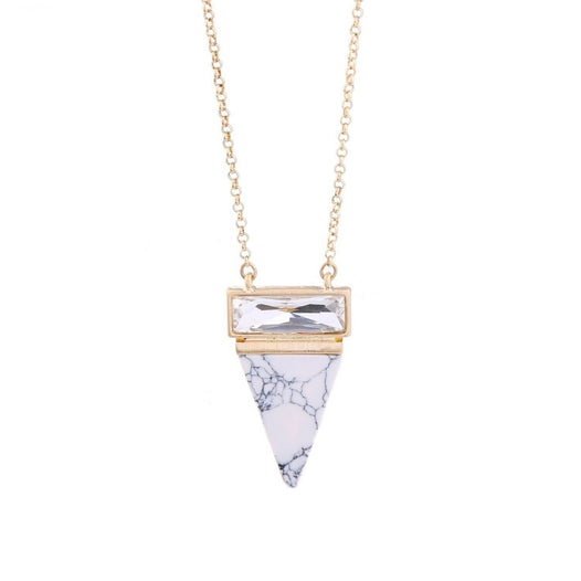 Turquoise Triangle Marble Necklace - UNDER4
