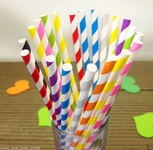 25 Striped Paper Straws - UNDER4