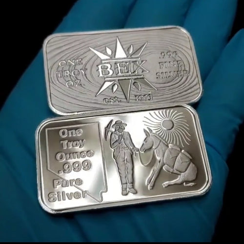 Nevada Prospector Silver Art Bar BEXCoinMint Golden State Mint VIntage ReRelease