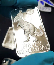 Load image into Gallery viewer, Vintage Happy Birthday Dino Re-Release 999FS 1 Tr Oz Bar Proof