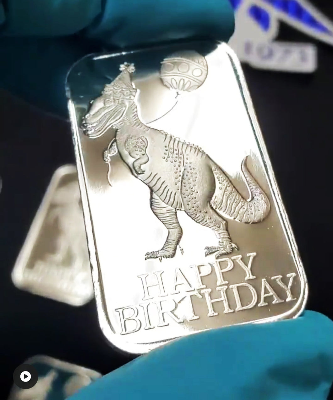 Vintage Happy Birthday Dino Re-Release 999FS 1 Tr Oz Bar Proof