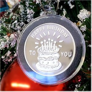 Happy Birthday Vintage Golden State Mint Catalog designs paired to create a very special silver art round for the 2020 Christmas Season