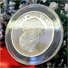 Load image into Gallery viewer, Merry Christmas Vintage Golden State Mint Catalog designs paired to create a very special silver art round for the 2020 Christmas Season