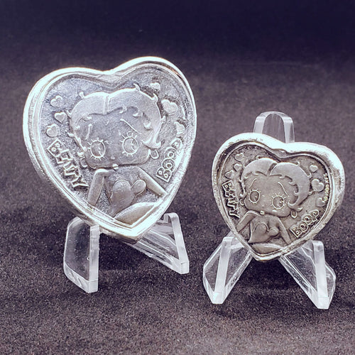 Betty Boop Hand Poured 999 Silver Heart Ingots by BEX Coin Minting