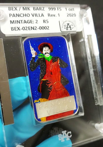 Vintage Pancho Villa Enameled 1 Troy Ounce Silver Art Bar, BEX MK Barz Silver Art Collector Slab