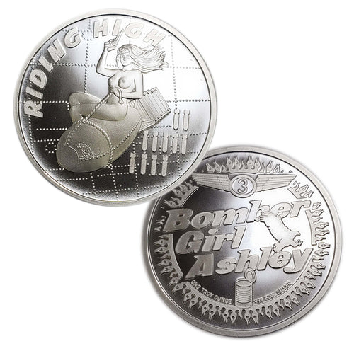 Bomber Girl Ashley is Riding High, No. 3 in the Bomber Girl Series .999 Fine Silver Art Rounds - BEX Coin Minting