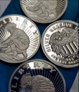 Liberty Panner BEX Silver Reserve Unit 999 FS 1 Tr Oz silver rounds, Test Pieces