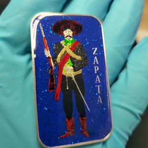 BEX Coin Minting Vintage Zapata 1 ounce siler art bar enameled, collaboration with MK Barz and Bullion