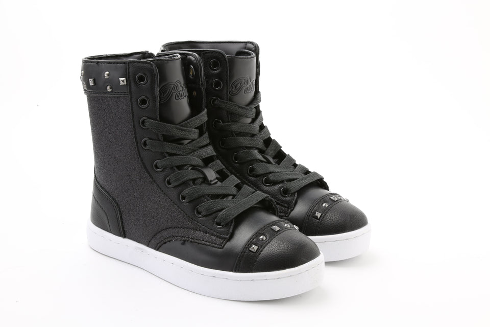 Pastry Military Glitz Youth Sneaker Boot in Black/White