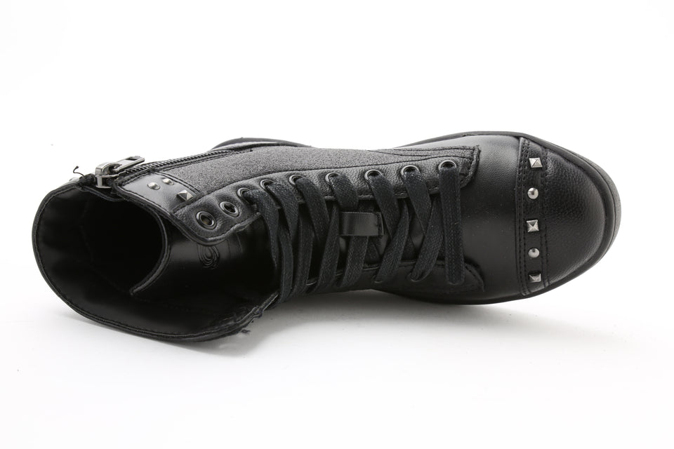 Pastry Military Glitz Youth Sneaker Boot in Black/Black
