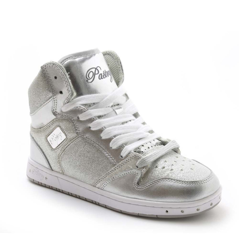 Pastry Glam Pie Glitter Adult Dance Sneaker in Silver