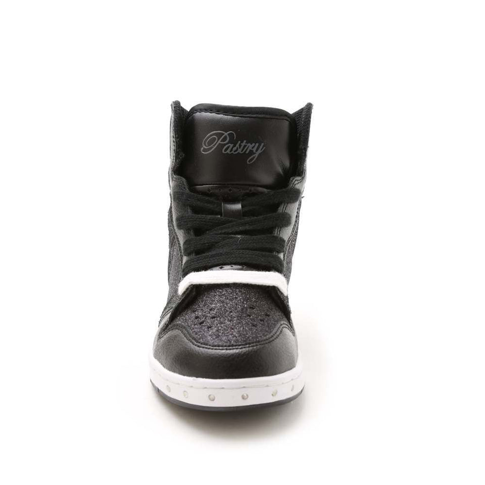 Pastry Glam Pie Glitter Youth Sneaker in Black/White