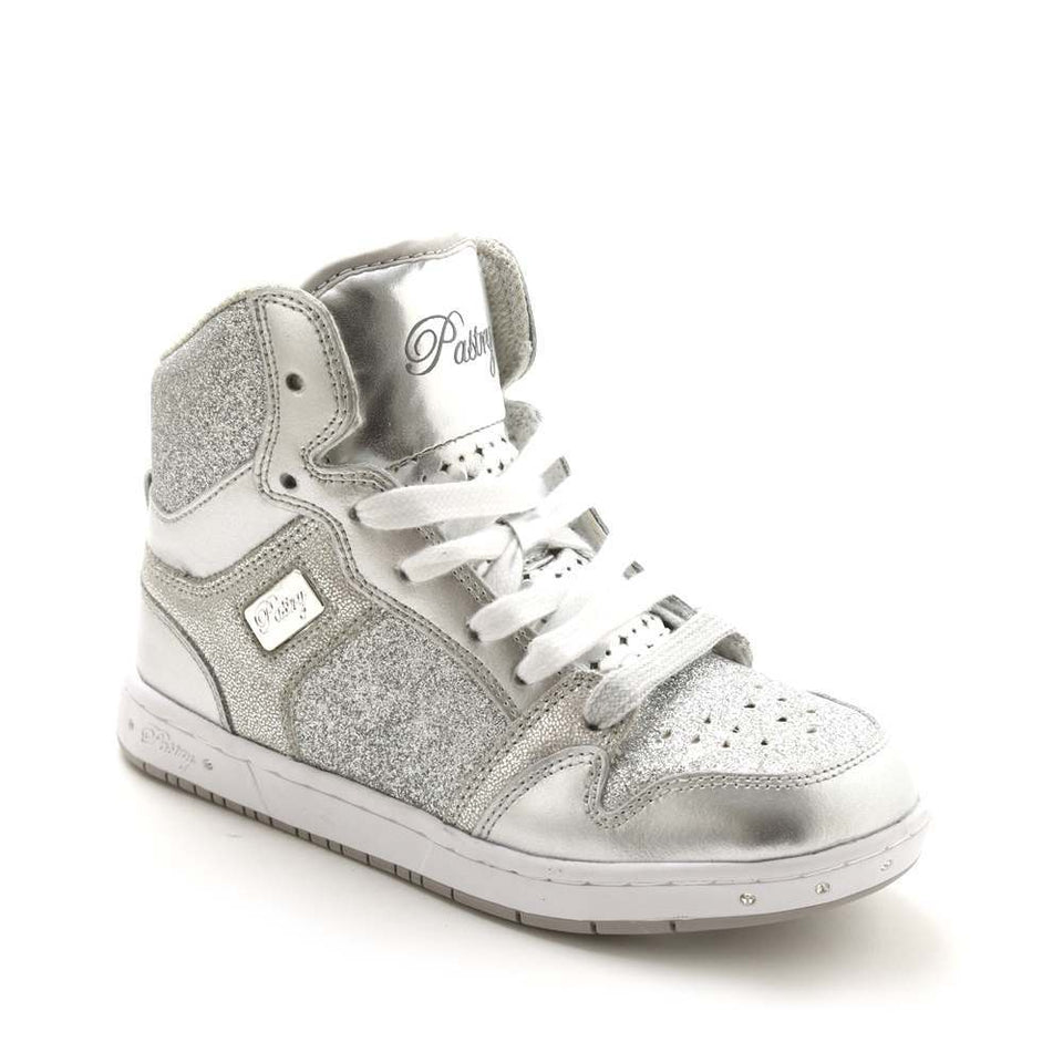 Pastry Glam Pie Glitter Youth Sneaker in Silver