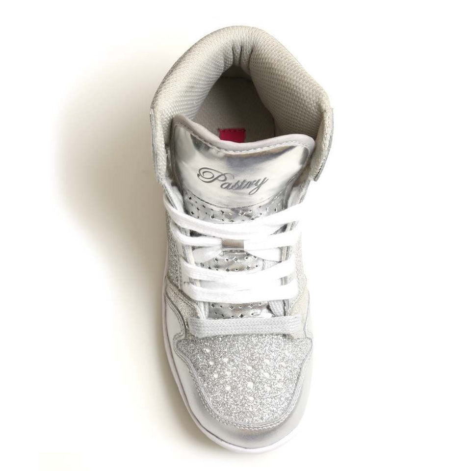 Pastry Glam Pie Glitter Youth Dance Sneaker in Silver