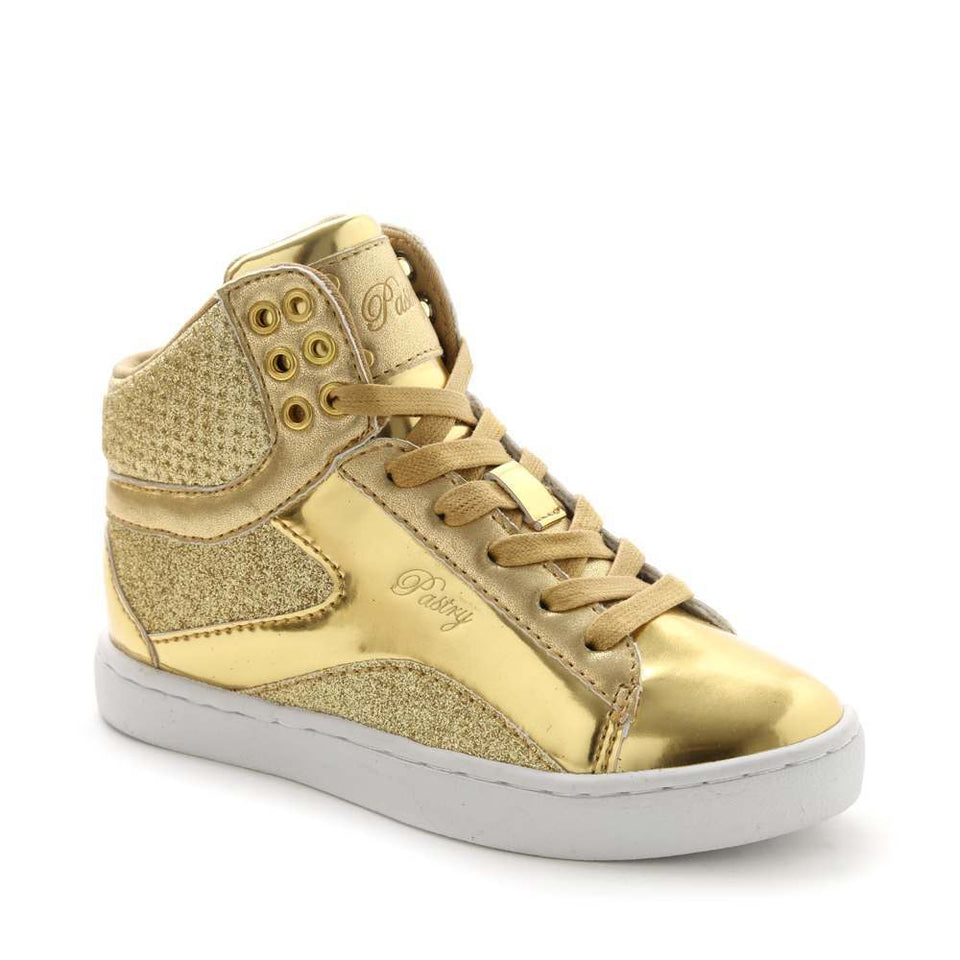 Pastry Pop Tart Glitter Youth Dance Sneaker in Gold