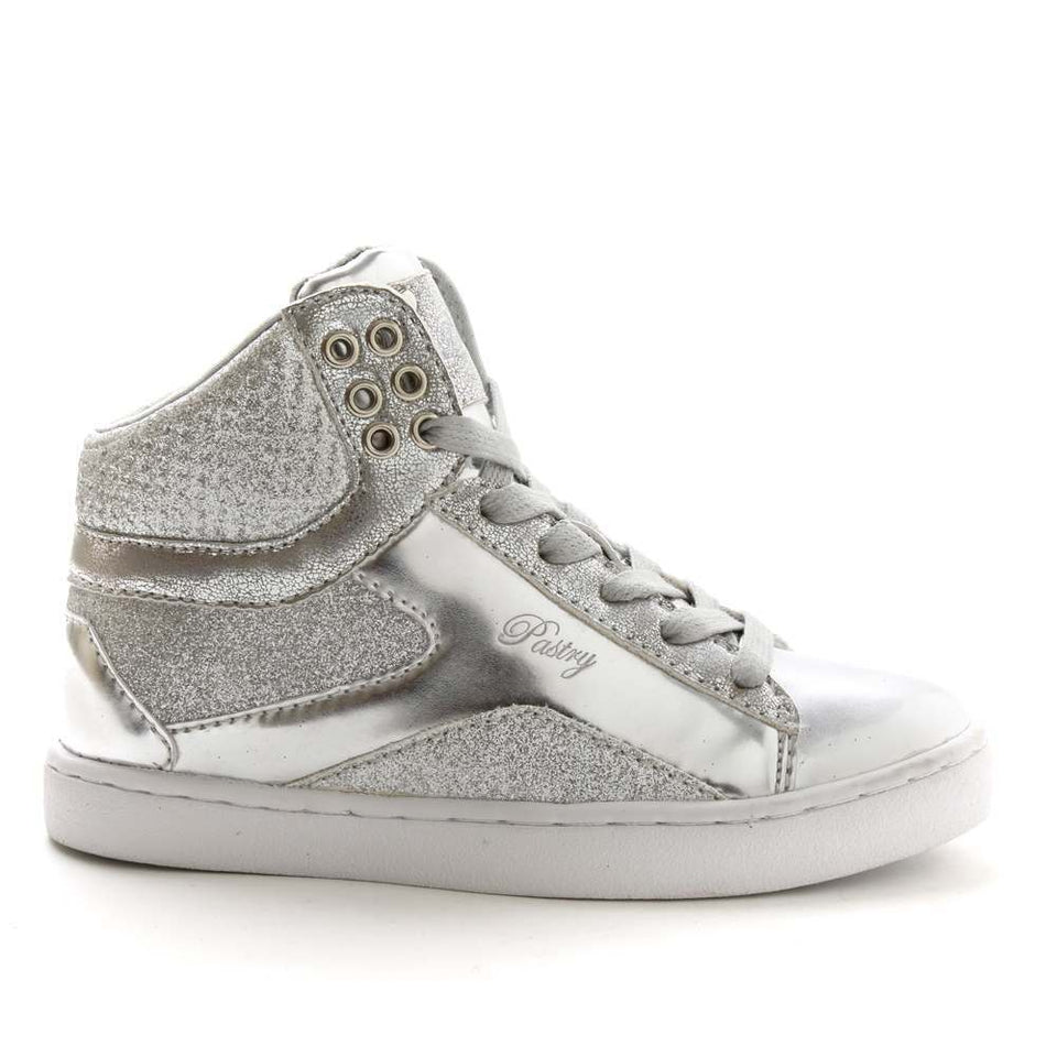 Pastry Pop Tart Glitter Youth Dance Sneaker in Silver