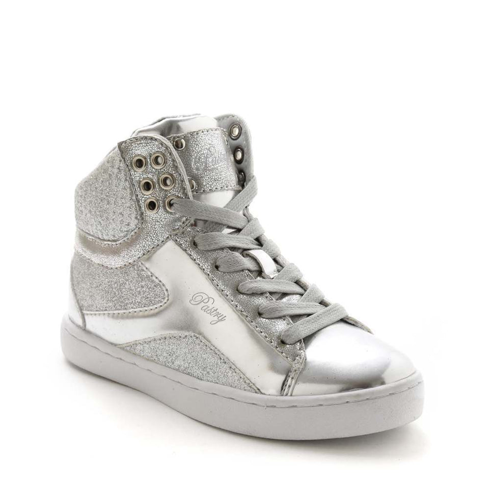 Pastry Pop Tart Glitter Youth Sneaker in Silver