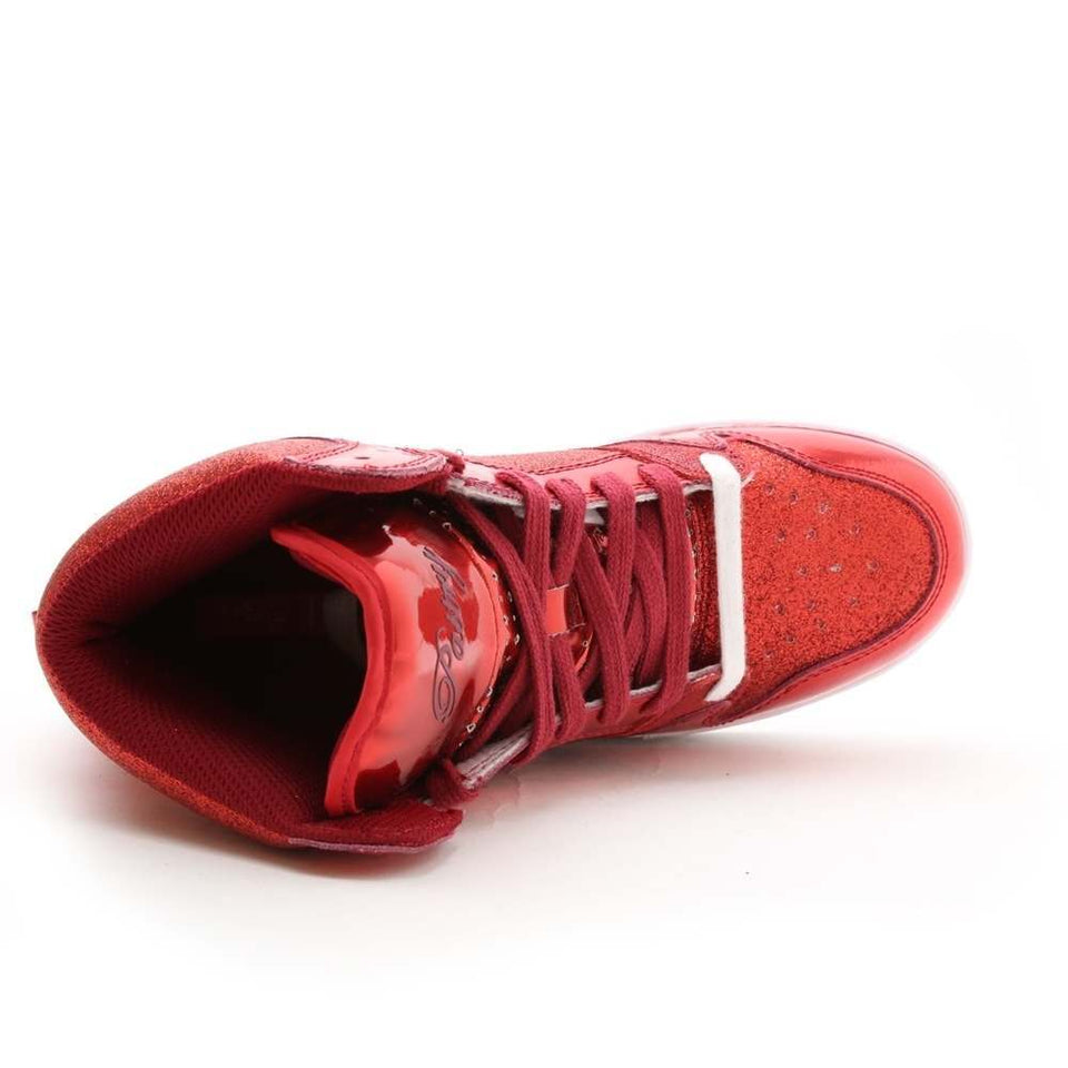 Pastry Glam Pie Glitter Adult Dance Sneaker in Red